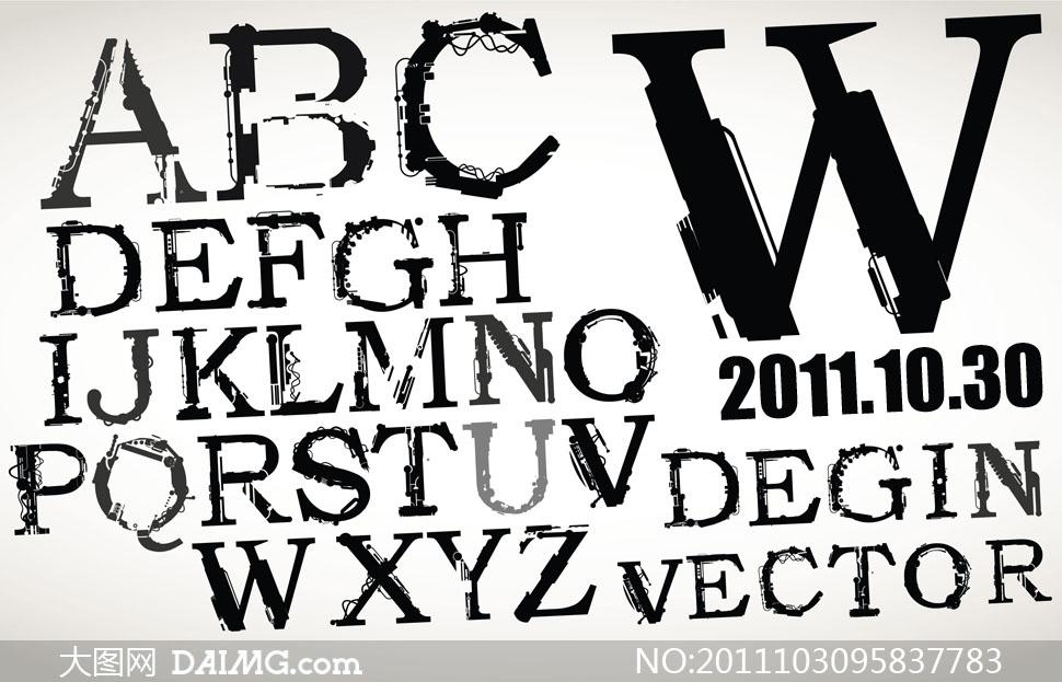 其他杂类 > 素材信息          手绘涂鸦风格字体设计矢量素材