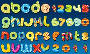 色彩鲜艳的可爱图案字体矢量素材