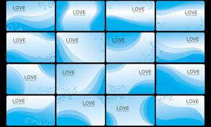 蓝色曲线名片背景矢量素材