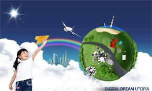 放飞纸飞机的小女孩与地球PSD分层素材