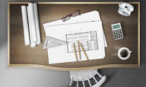 放图纸的桌子与椅子平面图PSD分层素材