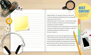 桌子上的记事本等杂物PSD分层素材
