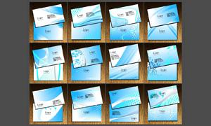 浅蓝色科技名片设计矢量素材