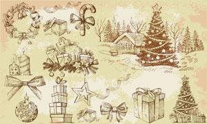 圣诞节周边素描物品矢量素材