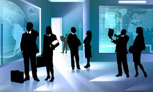 室内讨论问题的商务人物剪影高清图片