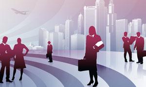 城市建筑物与商务人物剪影高清图片