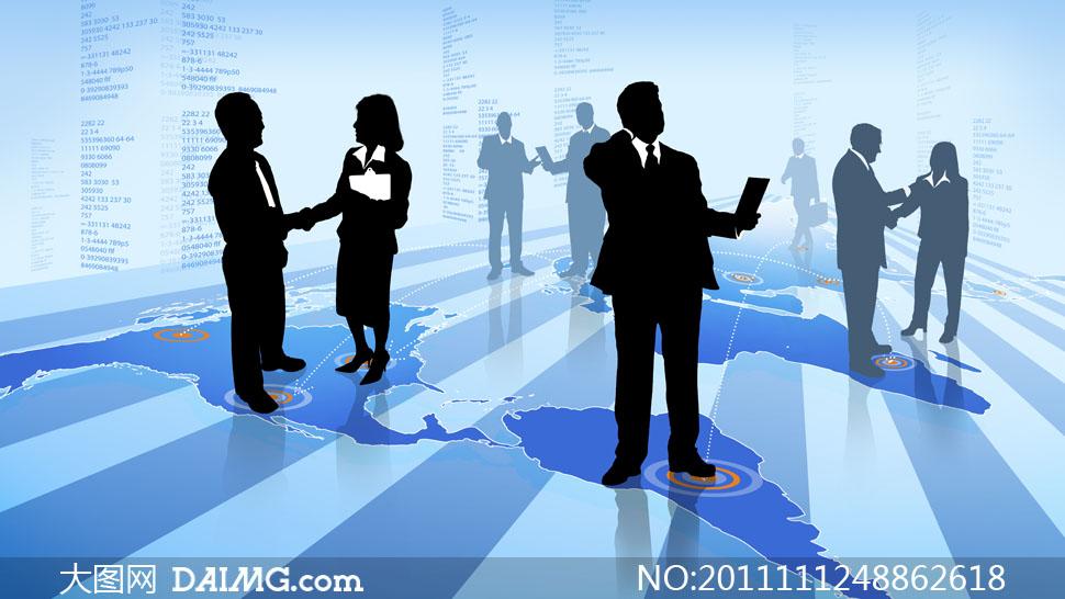 世界地图与商务人物剪影高清图片