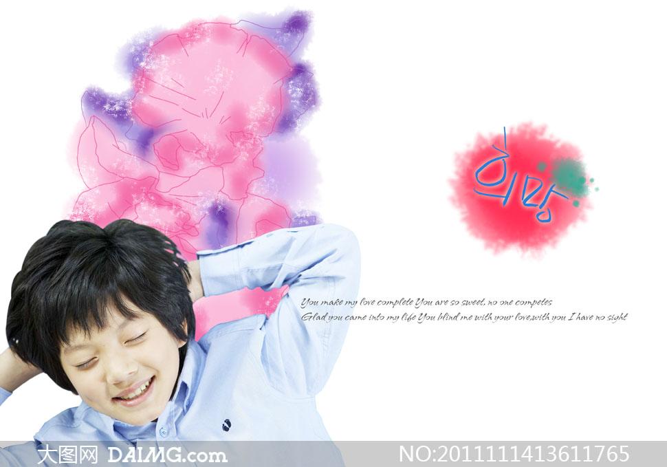 躺着的小男孩与泼墨花朵PSD分层素材