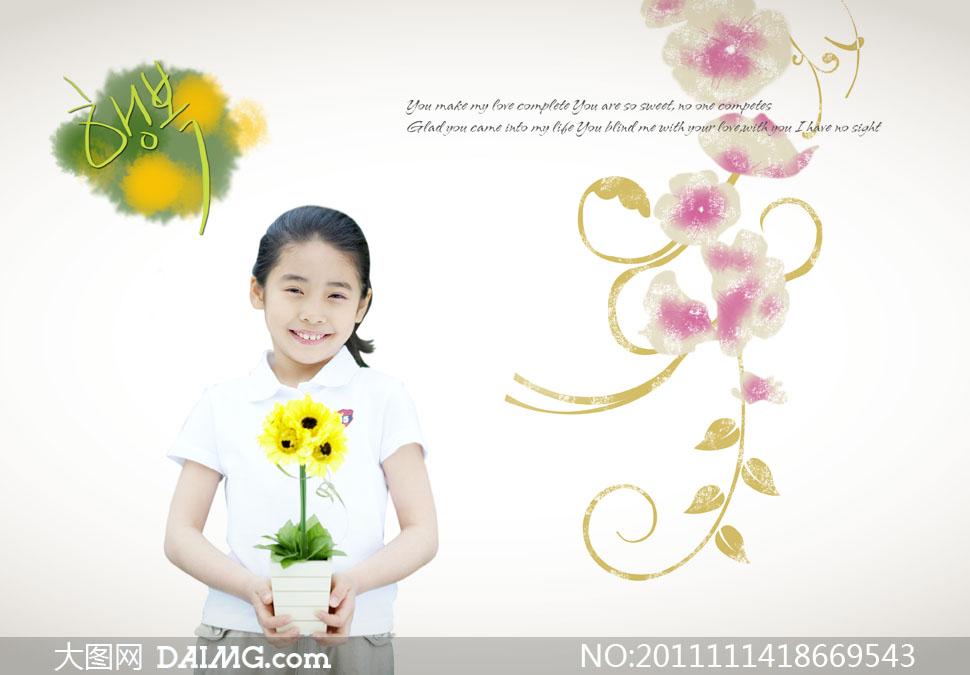 双手捧着花卉盆栽的小女孩psd分层素材