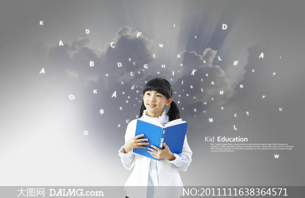 psd分层素材韩国素材人物儿童小孩小学生教育小女孩