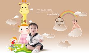 小宝宝与云朵彩虹卡通图案PSD分层素材