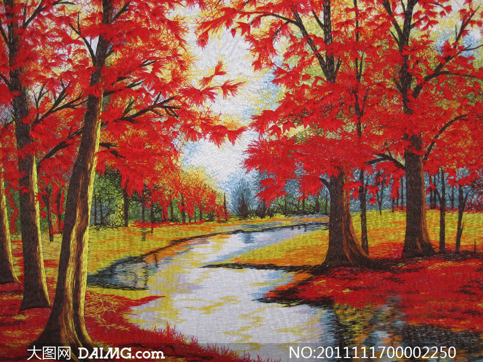 秋天的枫叶绘画图片素材