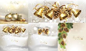圣诞节挂球铃铛主题卡片矢量素材