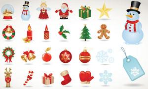 雪人铃铛等圣诞节周边矢量素材