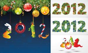 圣诞节与2012字体创意设计矢量素材