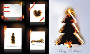燃烧着的白纸与圣诞树创意矢量素材