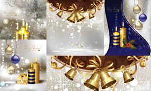 圣诞节蜡烛铃铛吊球等矢量素材