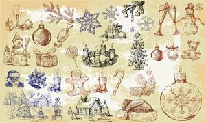 圣诞节雪人等周边素描画矢量素材