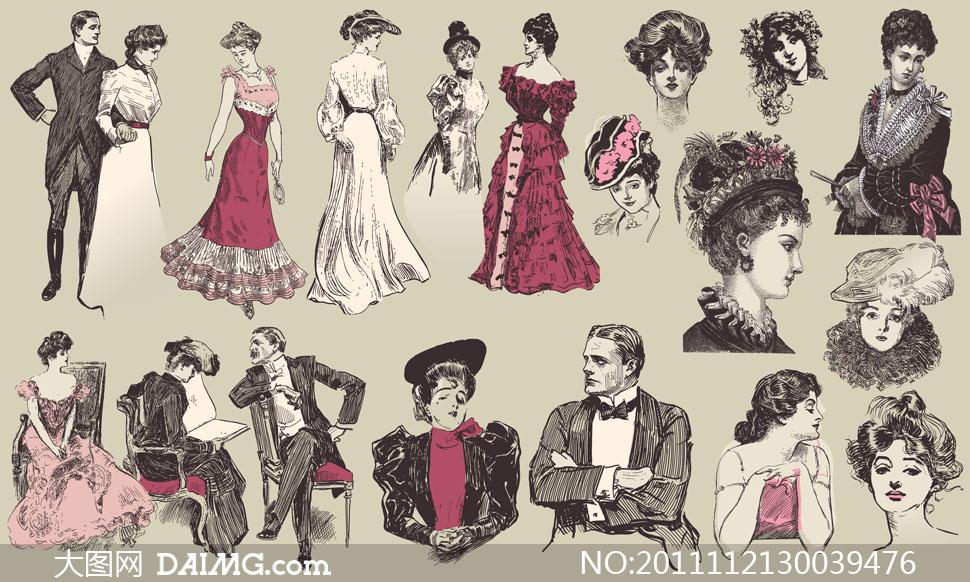 19世纪装束欧美复古人物矢量素材