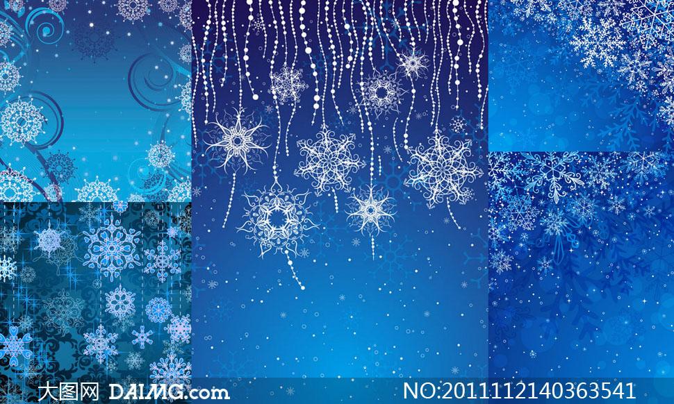 冬天雪花主题底纹背景矢量素材