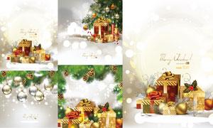 吊球礼物等圣诞节主题矢量素材