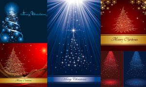 梦幻圣诞树与背景主题矢量素材