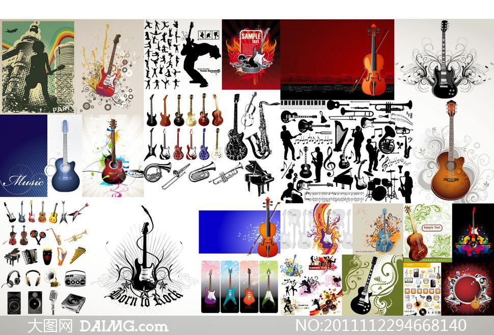 吉他主题音乐人物花纹背景矢量素材