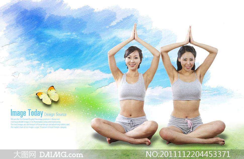 草地上做瑜伽的美女人物PSD分层素材