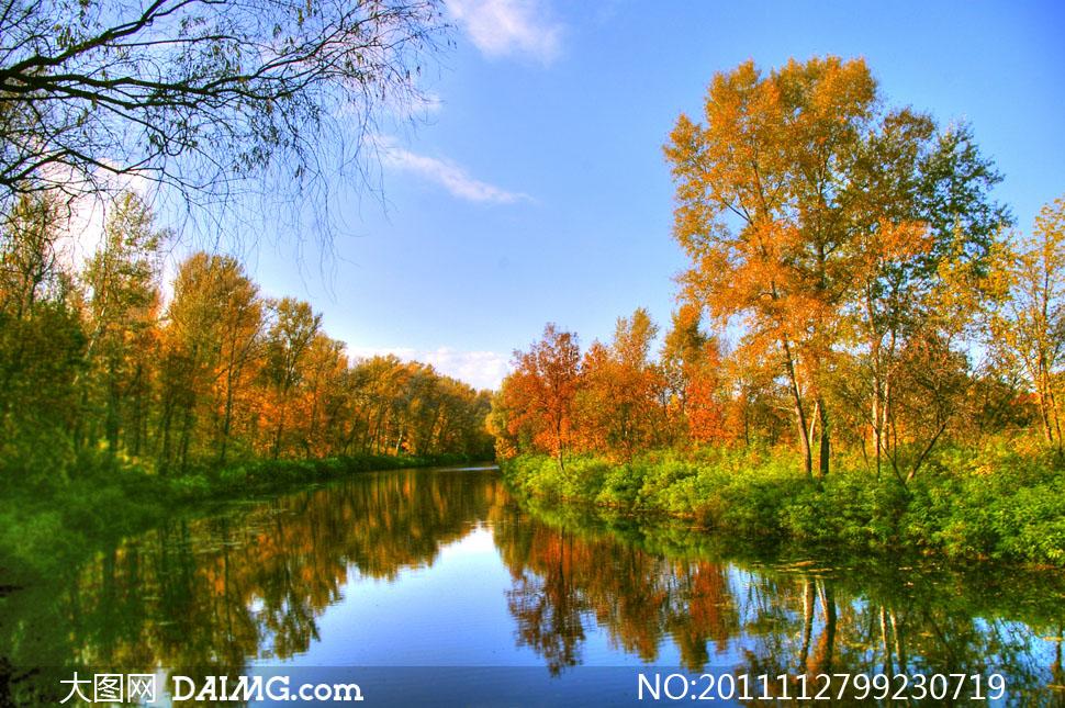 美麗如畫的秋天自然風景高清攝影圖片圖片