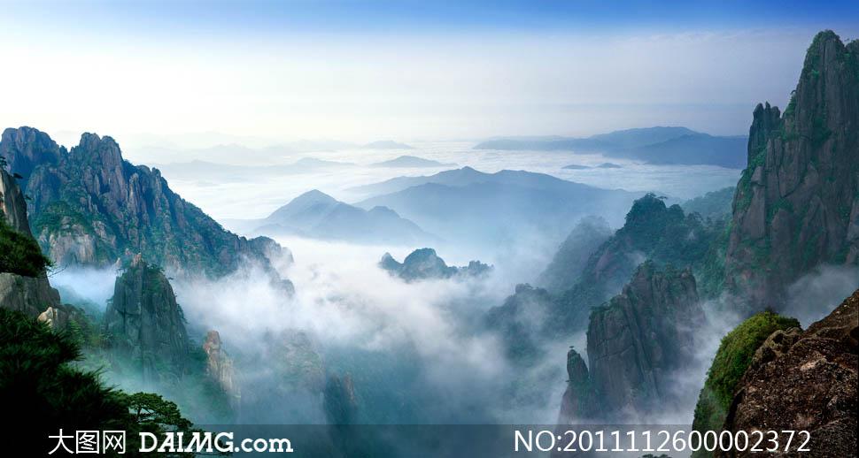山峰旅游圣地远处的山连绵的山群山风景名胜自然景观摄影高清图片素材图片