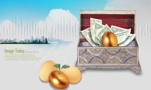 箱子里的金蛋与美元钞票PSD分层素材