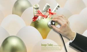 鸡蛋金蛋与听诊器创意设计PSD分层素材