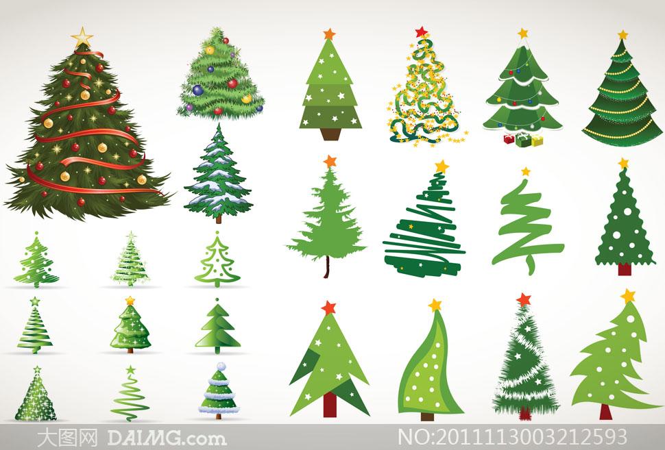 压缩包内含预览图片 关键词: 矢量素材矢量图圣诞节圣诞树抽象星星