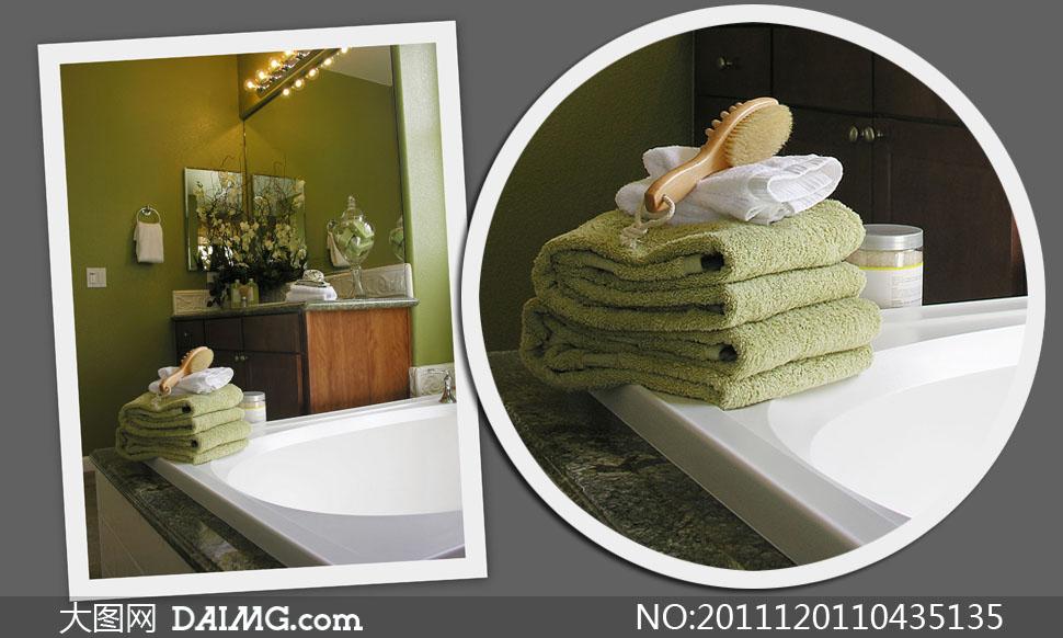 浴室浴缸上的毛巾叠花高清摄影图片