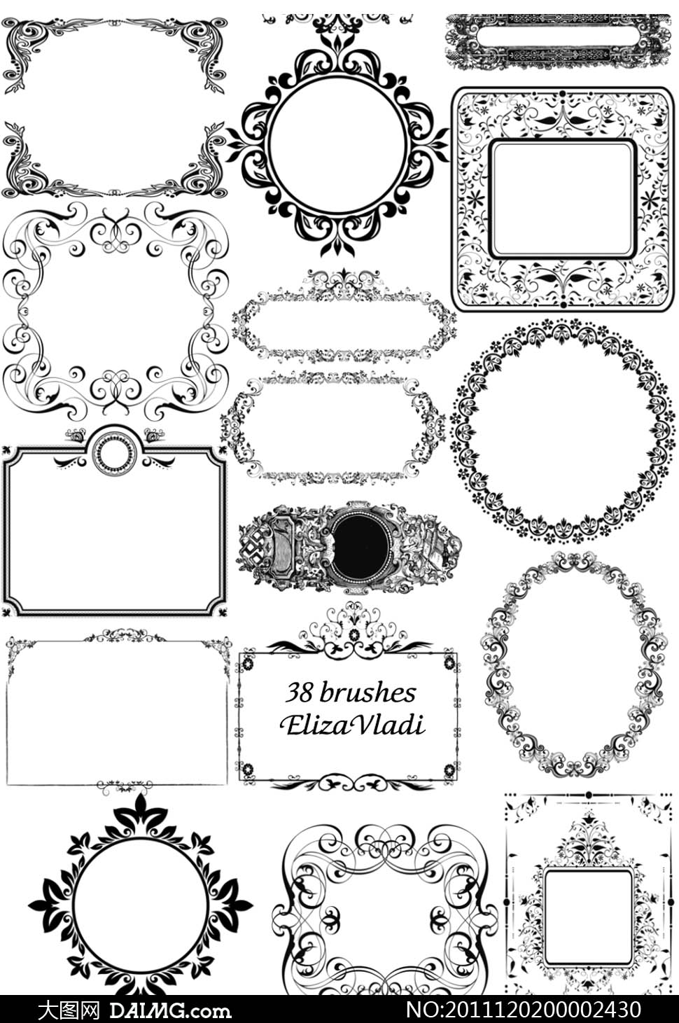 framesbrushes花纹花边边框相框古典ps笔刷ps素材