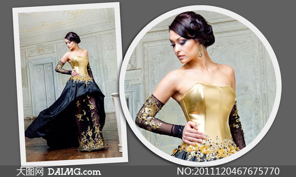 盘发盘头手放在腰上婚纱礼服米地板欧式复古怀旧古典时尚扭头高雅金色