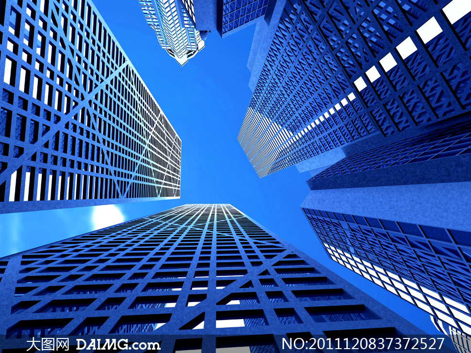 仰拍效果的城市建筑物高清摄影图片