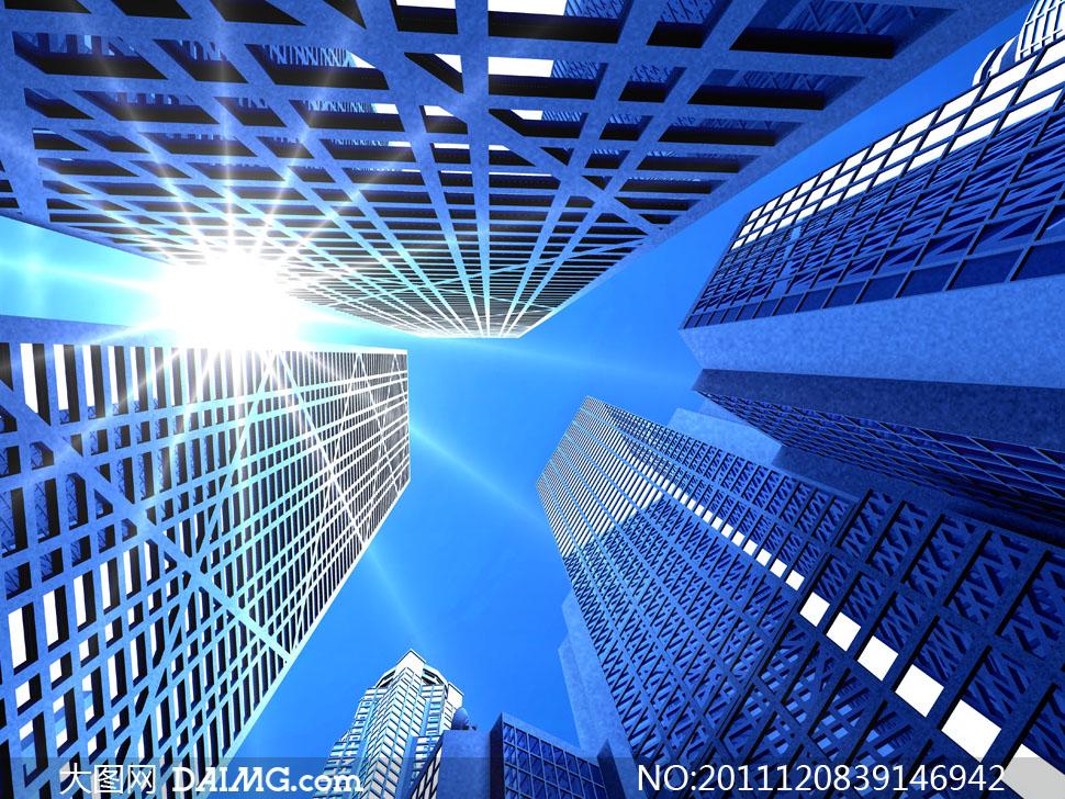 阳光下的城市高楼大厦高清摄影图片