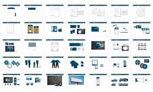 蓝色调企业VI设计矢量素材