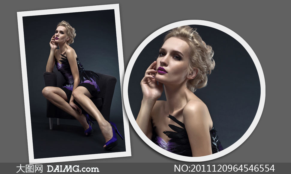 坐在沙发上摆造型的美女人物高清摄影图片