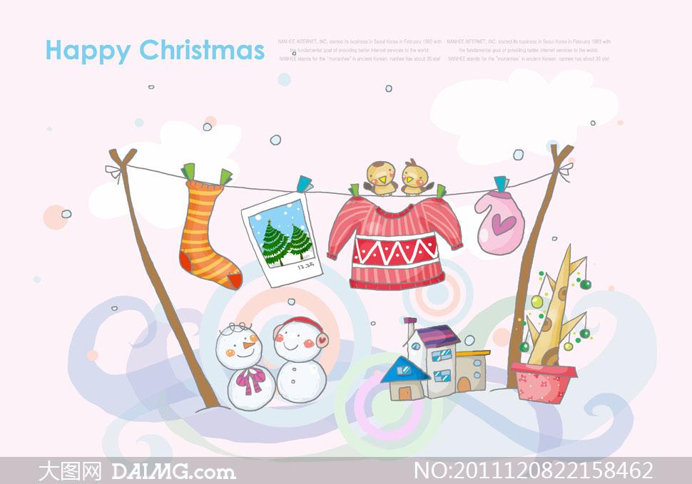 雪人房屋等圣诞节可爱卡通插画psd分层素材