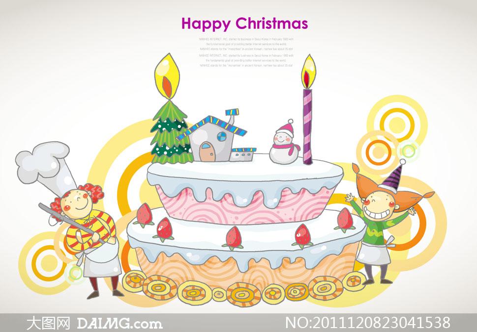绘画圆环圆圈蜡烛圣诞树房子房屋雪人可爱厨师草莓蛋