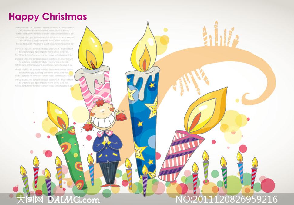 节卡通插画插图绘画人物儿童小孩蜡烛圆点开心双手