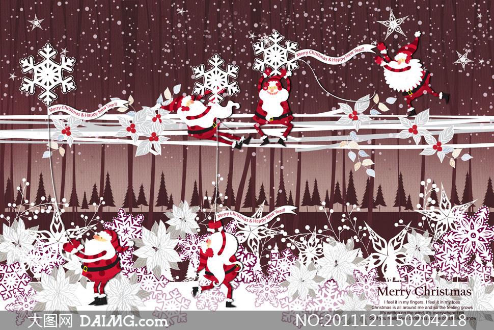 圣诞老人与雪花树林插画psd分层素材