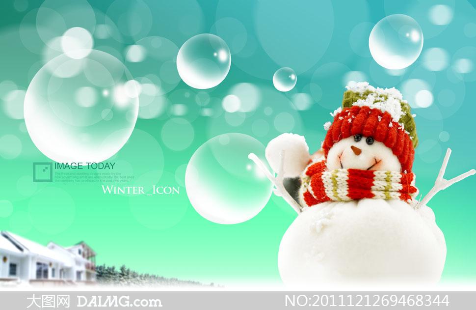 梦幻唯美背景散景气泡泡泡冬天雪景房屋房子雪地红色雪人可爱绿色