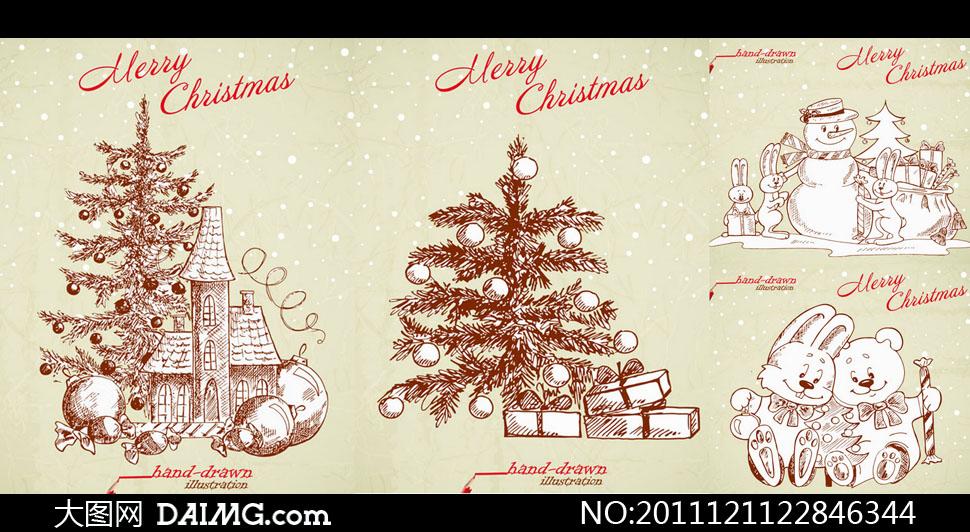 圣诞节主题手绘素描画矢量素材