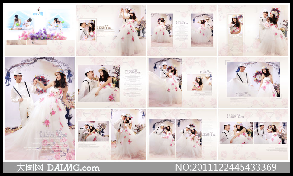 照摄影婚纱写真样册设计相册设计版式设计版面设计美女帅哥鲜花花朵图片