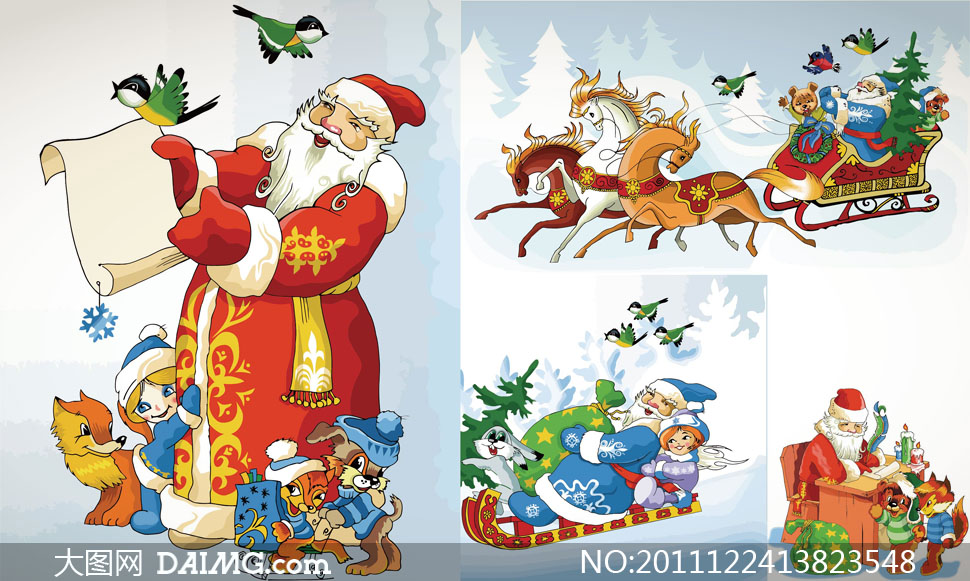 可爱圣诞老人主题矢量素材