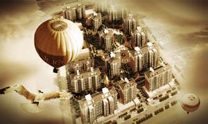 大气地产全景图设计PSD分层素材