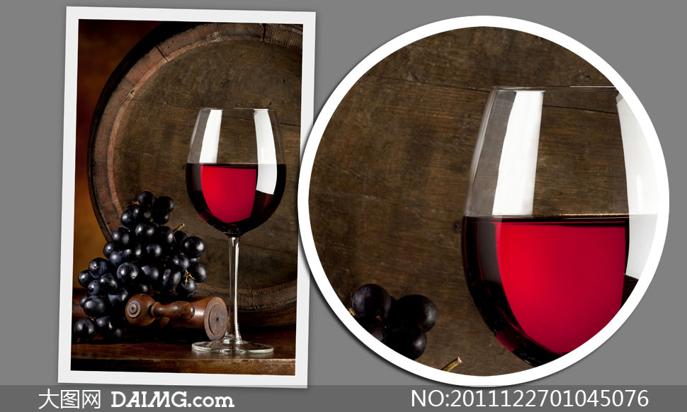素材摄影特写酒杯葡萄葡萄酒红酒杯子高脚杯橡木桶
